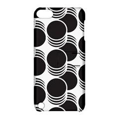 Floral Geometric Circle Black White Hole Apple Ipod Touch 5 Hardshell Case With Stand by Alisyart