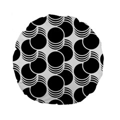 Floral Geometric Circle Black White Hole Standard 15  Premium Flano Round Cushions by Alisyart
