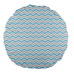 Free Plushie Wave Chevron Blue Grey Gray Large 18  Premium Round Cushions by Alisyart