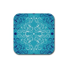Flower Leaf Floral Love Heart Sunflower Rose Blue White Rubber Square Coaster (4 Pack)  by Alisyart