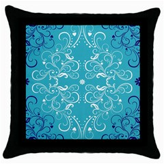 Flower Leaf Floral Love Heart Sunflower Rose Blue White Throw Pillow Case (black) by Alisyart