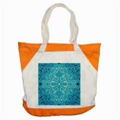 Flower Leaf Floral Love Heart Sunflower Rose Blue White Accent Tote Bag by Alisyart