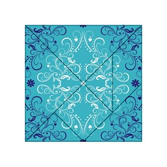 Flower Leaf Floral Love Heart Sunflower Rose Blue White Acrylic Tangram Puzzle (4  X 4 ) by Alisyart