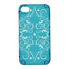 Flower Leaf Floral Love Heart Sunflower Rose Blue White Apple Iphone 4/4s Hardshell Case With Stand by Alisyart