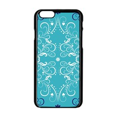 Flower Leaf Floral Love Heart Sunflower Rose Blue White Apple Iphone 6/6s Black Enamel Case by Alisyart