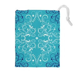 Flower Leaf Floral Love Heart Sunflower Rose Blue White Drawstring Pouches (extra Large) by Alisyart