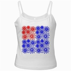 Flower Floral Smile Face Red Blue Sunflower White Spaghetti Tank by Alisyart