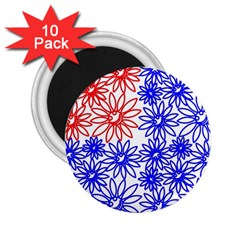 Flower Floral Smile Face Red Blue Sunflower 2 25  Magnets (10 Pack)  by Alisyart