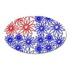 Flower Floral Smile Face Red Blue Sunflower Oval Magnet by Alisyart