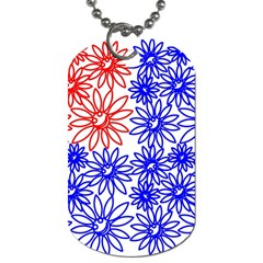 Flower Floral Smile Face Red Blue Sunflower Dog Tag (two Sides) by Alisyart