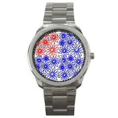 Flower Floral Smile Face Red Blue Sunflower Sport Metal Watch by Alisyart