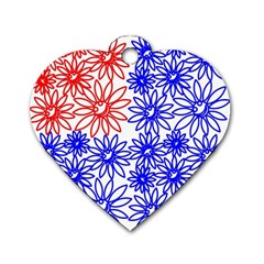 Flower Floral Smile Face Red Blue Sunflower Dog Tag Heart (one Side) by Alisyart