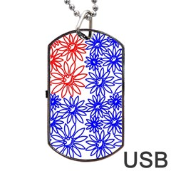 Flower Floral Smile Face Red Blue Sunflower Dog Tag Usb Flash (two Sides) by Alisyart