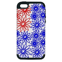 Flower Floral Smile Face Red Blue Sunflower Apple Iphone 5 Hardshell Case (pc+silicone) by Alisyart