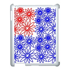 Flower Floral Smile Face Red Blue Sunflower Apple Ipad 3/4 Case (white) by Alisyart