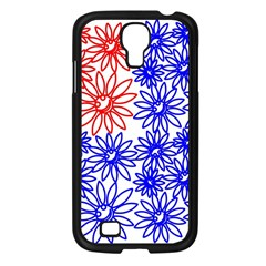Flower Floral Smile Face Red Blue Sunflower Samsung Galaxy S4 I9500/ I9505 Case (black) by Alisyart