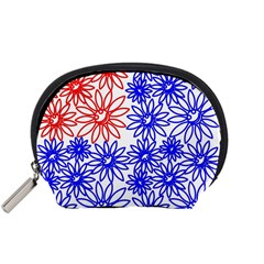 Flower Floral Smile Face Red Blue Sunflower Accessory Pouches (small)  by Alisyart