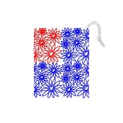 Flower Floral Smile Face Red Blue Sunflower Drawstring Pouches (small)  by Alisyart