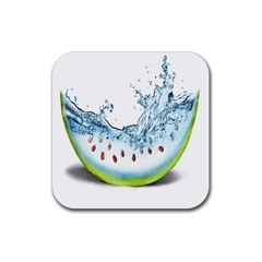 Fruit Water Slice Watermelon Rubber Square Coaster (4 Pack)  by Alisyart