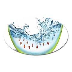 Fruit Water Slice Watermelon Oval Magnet by Alisyart