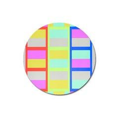 Maximum Color Rainbow Red Blue Yellow Grey Pink Plaid Flag Magnet 3  (round) by Alisyart