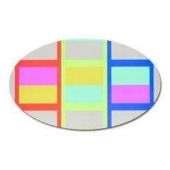 Maximum Color Rainbow Red Blue Yellow Grey Pink Plaid Flag Oval Magnet by Alisyart