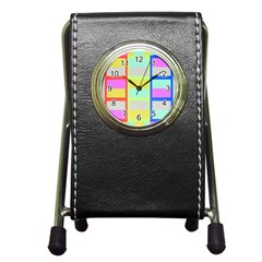 Maximum Color Rainbow Red Blue Yellow Grey Pink Plaid Flag Pen Holder Desk Clocks by Alisyart