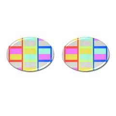 Maximum Color Rainbow Red Blue Yellow Grey Pink Plaid Flag Cufflinks (oval) by Alisyart