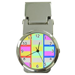 Maximum Color Rainbow Red Blue Yellow Grey Pink Plaid Flag Money Clip Watches by Alisyart