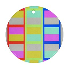 Maximum Color Rainbow Red Blue Yellow Grey Pink Plaid Flag Round Ornament (two Sides) by Alisyart