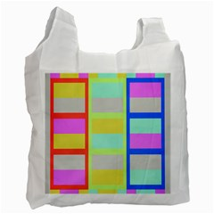 Maximum Color Rainbow Red Blue Yellow Grey Pink Plaid Flag Recycle Bag (two Side)  by Alisyart