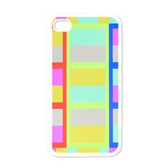 Maximum Color Rainbow Red Blue Yellow Grey Pink Plaid Flag Apple Iphone 4 Case (white)