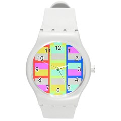 Maximum Color Rainbow Red Blue Yellow Grey Pink Plaid Flag Round Plastic Sport Watch (m) by Alisyart