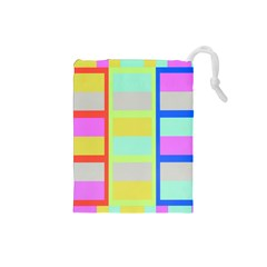 Maximum Color Rainbow Red Blue Yellow Grey Pink Plaid Flag Drawstring Pouches (small)  by Alisyart