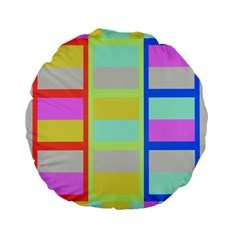 Maximum Color Rainbow Red Blue Yellow Grey Pink Plaid Flag Standard 15  Premium Flano Round Cushions by Alisyart