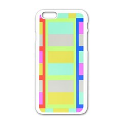 Maximum Color Rainbow Red Blue Yellow Grey Pink Plaid Flag Apple Iphone 6/6s White Enamel Case
