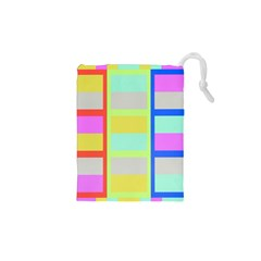 Maximum Color Rainbow Red Blue Yellow Grey Pink Plaid Flag Drawstring Pouches (xs)  by Alisyart
