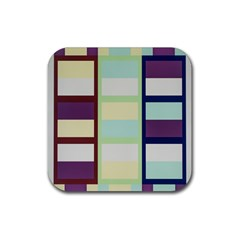 Maximum Color Rainbow Brown Blue Purple Grey Plaid Flag Rubber Square Coaster (4 Pack)  by Alisyart