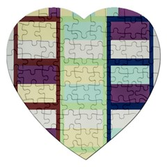 Maximum Color Rainbow Brown Blue Purple Grey Plaid Flag Jigsaw Puzzle (heart) by Alisyart