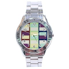Maximum Color Rainbow Brown Blue Purple Grey Plaid Flag Stainless Steel Analogue Watch by Alisyart