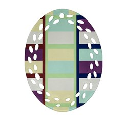 Maximum Color Rainbow Brown Blue Purple Grey Plaid Flag Oval Filigree Ornament (two Sides) by Alisyart