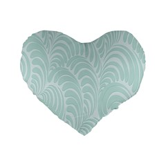 Leaf Blue Standard 16  Premium Flano Heart Shape Cushions by Alisyart
