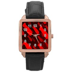 Missile Rockets Red Rose Gold Leather Watch  by Alisyart