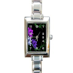 Neon Flowers Floral Rose Light Green Purple White Pink Sexy Rectangle Italian Charm Watch by Alisyart
