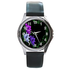 Neon Flowers Floral Rose Light Green Purple White Pink Sexy Round Metal Watch by Alisyart