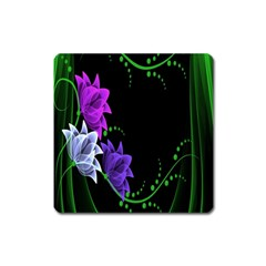 Neon Flowers Floral Rose Light Green Purple White Pink Sexy Square Magnet by Alisyart