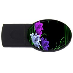 Neon Flowers Floral Rose Light Green Purple White Pink Sexy Usb Flash Drive Oval (2 Gb) by Alisyart