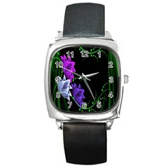 Neon Flowers Floral Rose Light Green Purple White Pink Sexy Square Metal Watch by Alisyart
