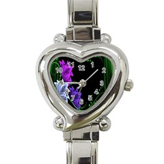 Neon Flowers Floral Rose Light Green Purple White Pink Sexy Heart Italian Charm Watch by Alisyart