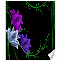 Neon Flowers Floral Rose Light Green Purple White Pink Sexy Canvas 8  X 10  by Alisyart
